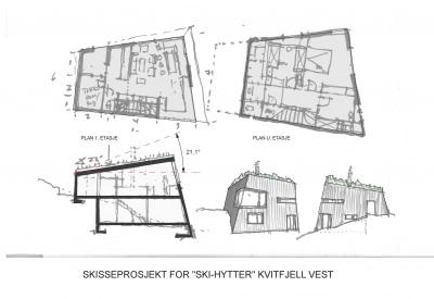Skisseprosjekt skihytte Kvitfjell